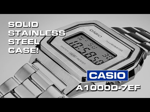 """Finally! A Solid Stainless Steel Case On Casio's A1000D-7EF. It's Newest """"vintage"""" Digital Watch."""