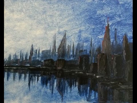 Blue Skyline: Full Length Cityscape Painting with Audio Commentary!