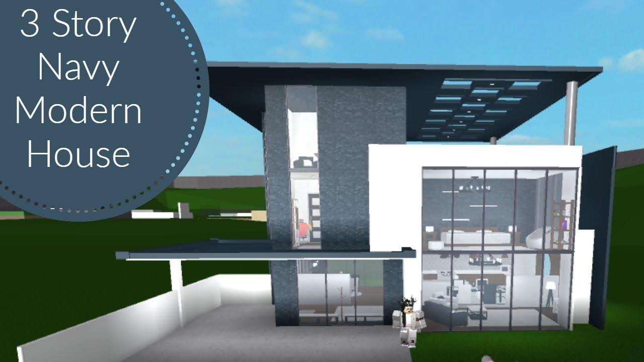 Bloxburg 3 story navy modern house speedbuild