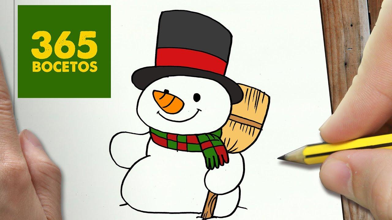 Como Dibujar Un Muñeco De Nieve Para Navidad Paso A Paso Dibujos Kawaii Navideños Draw A Snowman