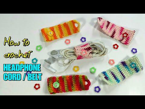 How to Crochet Headphone Cord Holder / Earphone Belt