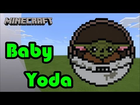 Minecraft: Pixel Art Tutorial And Showcase: Baby Yoda, The Child (The Mandalorian)