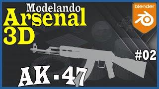 Blender Tutorial Modelagem de Arma 3D - Modelando Fuzil Automatico AK-47 para games FPS - 2/2