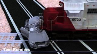 Train VS Audi S5 Crash Test (Rayfire + Maya + nCloth + Vray)