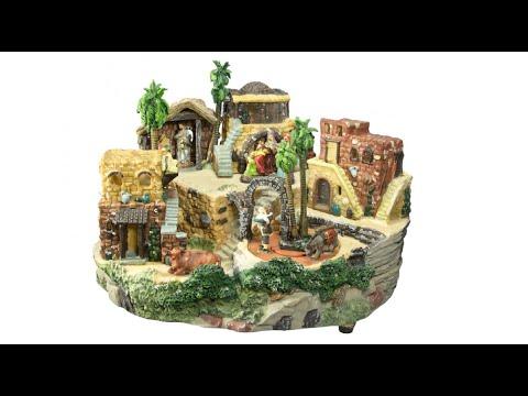 Nativity Scenes – Fibre Optic Resin Nativity Village – 32cm – The Christmas Warehouse