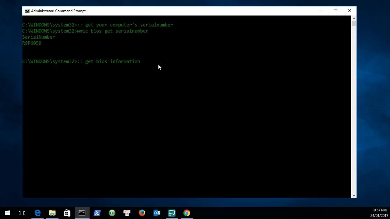 Microsoft Windows: get serialnumber, bios version