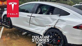 TESLA MODEL X CAR CRASH CAUGHT ON DASH CAM   TESLACAM STORIES #28