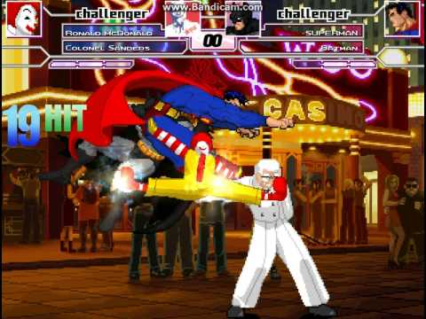 MUGEN Battle #0001 - Ronald McDonald and Colonel Sanders vs Superman and Batman