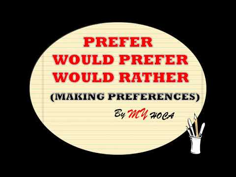 Would Prefer-Would Rather (Preferences) - Özet anlatım-Hiç unutmayacaksınız