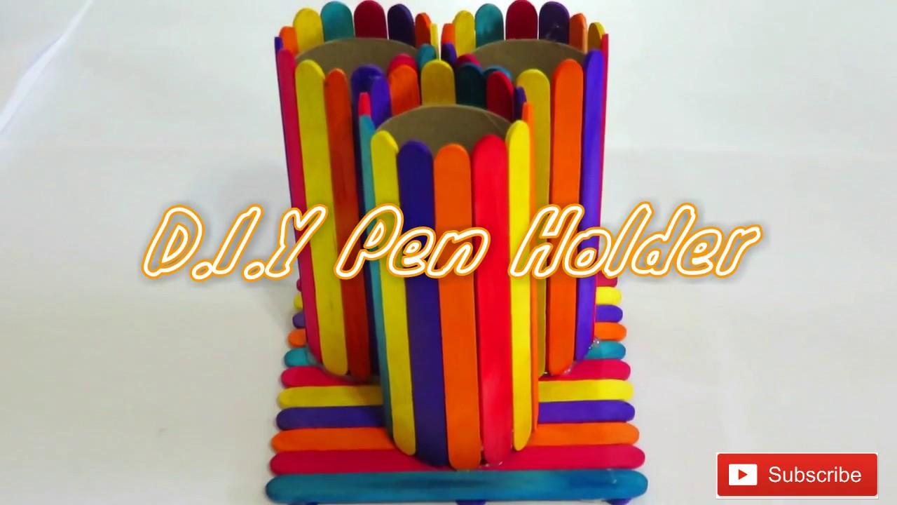 how to make pen holder with icecream sticks