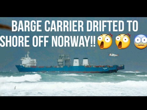Barge Carrier Towed To Safety After Drifting Close To Shore Off Norway.