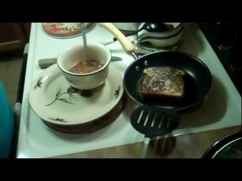 Vegetable Beef Soup w/Grilled Peanut Butter Sandwich