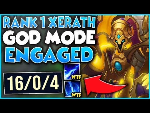 #1 XERATH WORLD GOES GOD MODE 16 KILLS IN 20 MINUTES (STOMP) - League of Legends
