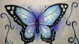 Pintando borboleta azul – Pintura em tecido