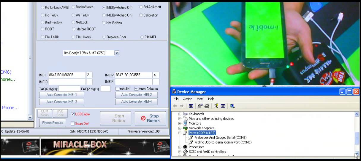 mtk 65xx write imei by miracle usb cable ok