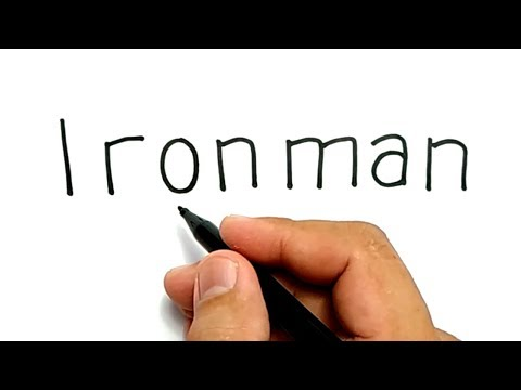 VERY EASY ! How to turn words IRONMAN into CARTOON for KIDS / how to draw ironman