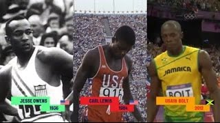 Recrean una hipotética final olímpica con Jesse Owens, Carl Lewis y Usain Bolt
