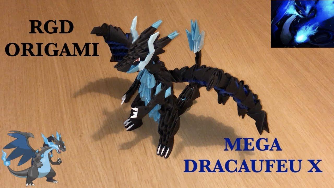 Comment Faire Méga Dracaufeu X En Origami 3d Origami 3d Pokémon Tutoriel