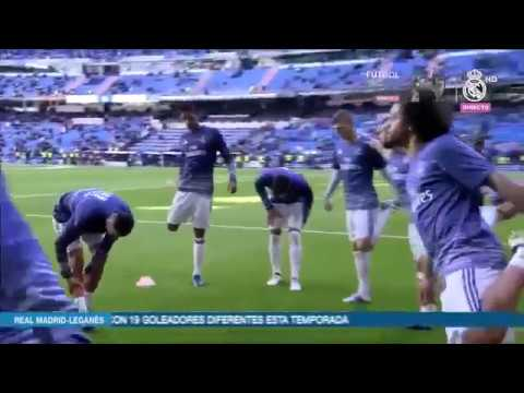 Real Madrid warm up on Santiago Bernabeu before  Deportivo Leganes! Building up to kick