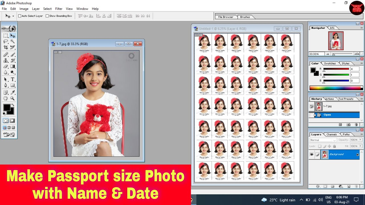 Make Passport size Photo with Name and Date in Photoshop | Make Passport size photo in 2 minutes