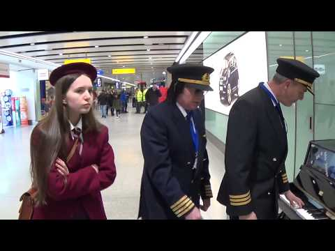 Schoolgirl Gets A Big Surprise At The Airport Piano