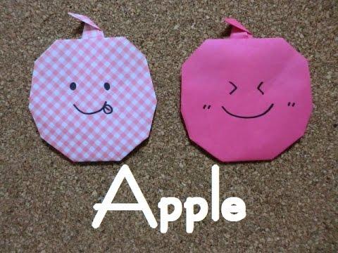 ハート 折り紙:折り紙 りんご 折り方-youtube.com