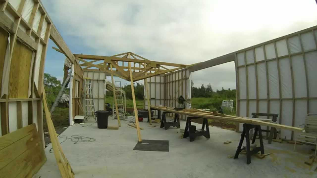 Installing Roof Trusses Alone For A Small Shop Youtube