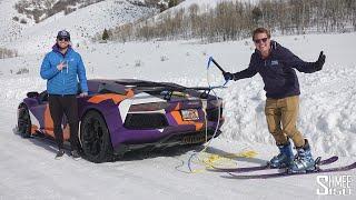 Skiing Behind TheStradman's Lamborghini Aventador!