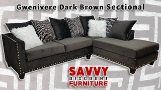 Southern Charm Gwenivere Dark Brown Sectional Sofa