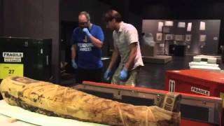 Uncrating a mummy for the National Museum