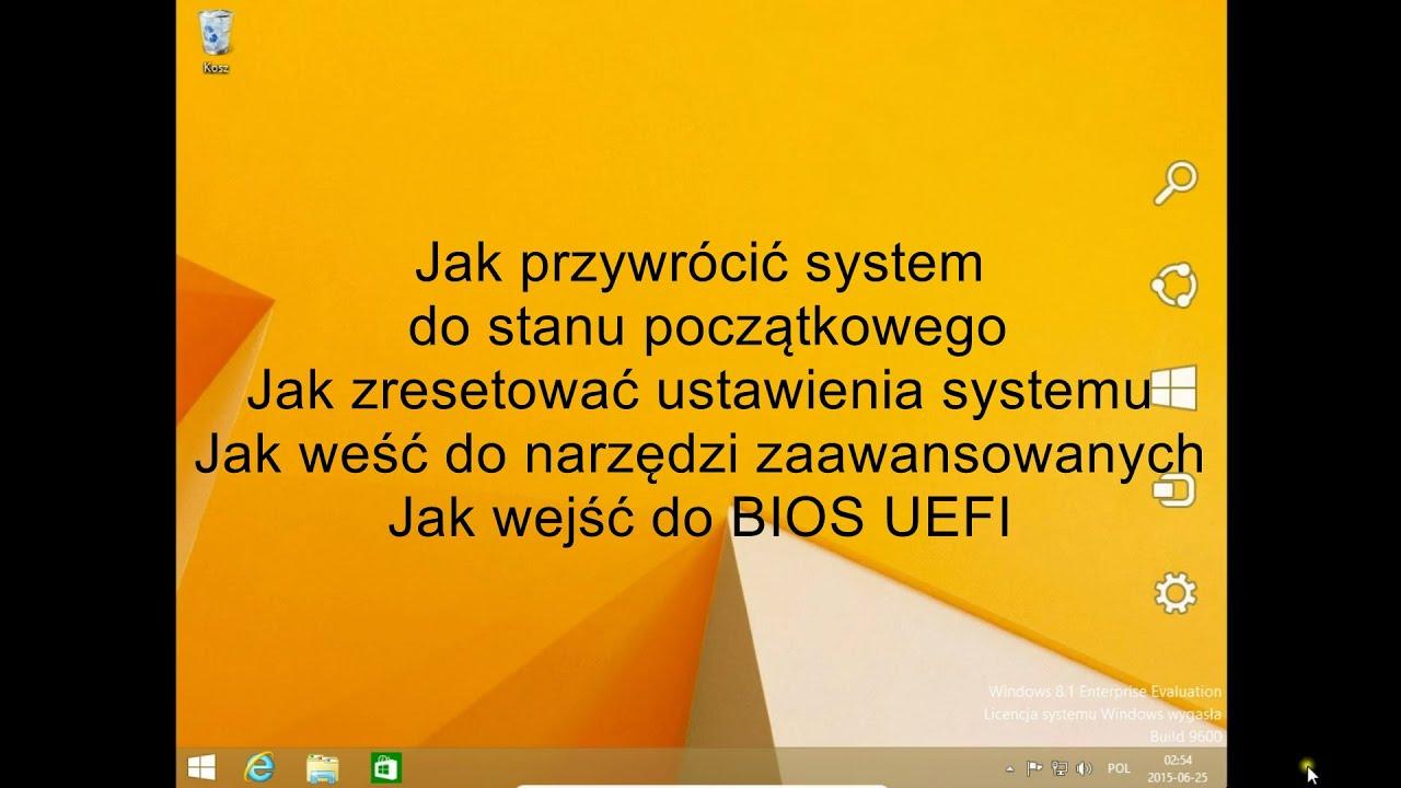 Windows 8 81 Resetowanie Ustawień Przywracanie Systemu