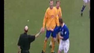 Duncan Ferguson grabbing Steffen Freund round the neck