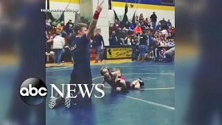 Boy Runs From Girl In Toddler Wrestling Match