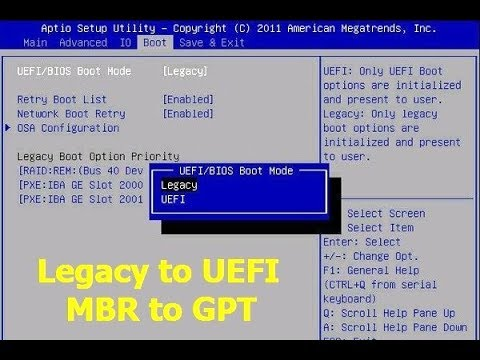 How To Convert Legacy To UEFI & MBR To GPT In Windows 10/8/7
