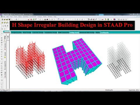 H Shape irregular Building Design by STAAD Pro Software thumbnail
