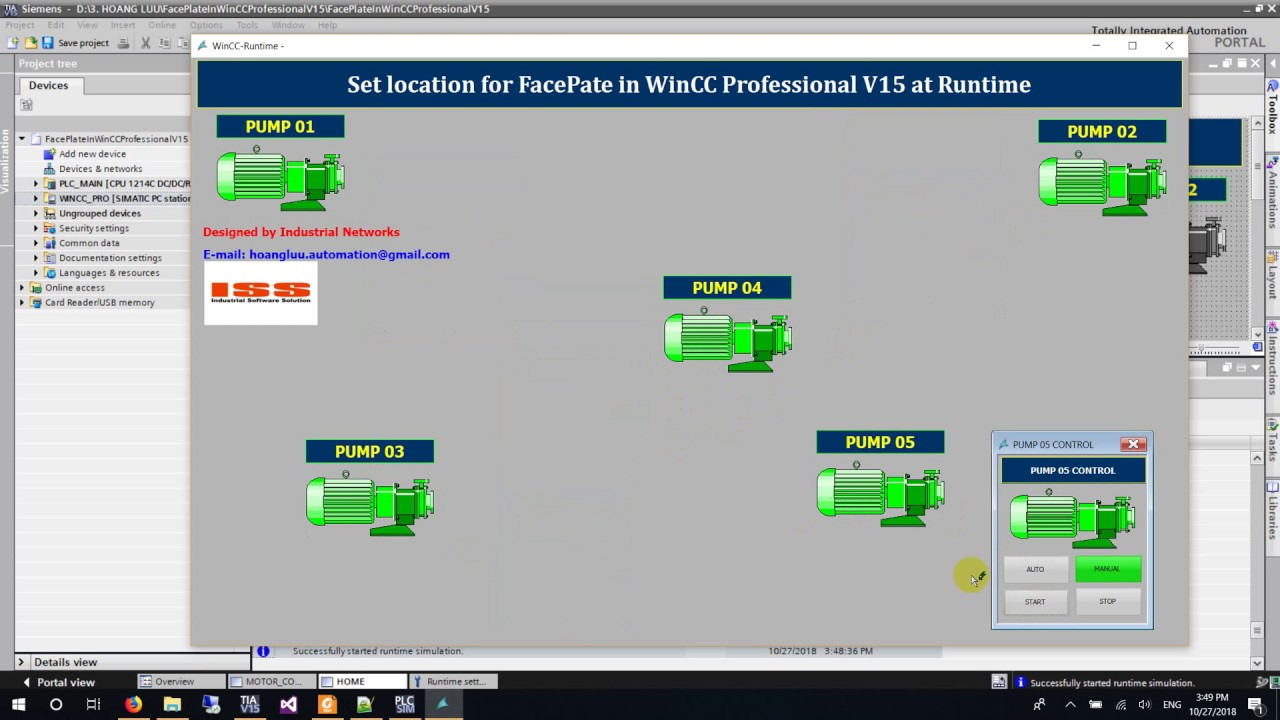 How to set location for FacePate in WinCC Professional V15