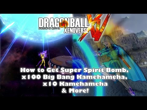 Dragon Ball Xenoverse - How to Get Super Spirit Bomb, x100 Big Bang Kamehameha, x10 Kamehameha: This video explains how to unlock and get Spirit Bomb, Super Spirit Bomb, x10 Kamehameha, Super Kamehameha, and x100 Big Bang Kamehameha in Dragon Ball Xenoverse! Subscribe for more Dragon Ball Xenoverse: http://bit.ly/animegamesonline  Table of Contents: 00:07 How to Get Spirit Bomb, x10 Kamehameha, Super Kamehameha 01:07 How to Get x100 Big Bang Kamehameha 02:01 How to Get Super Spirit Bomb