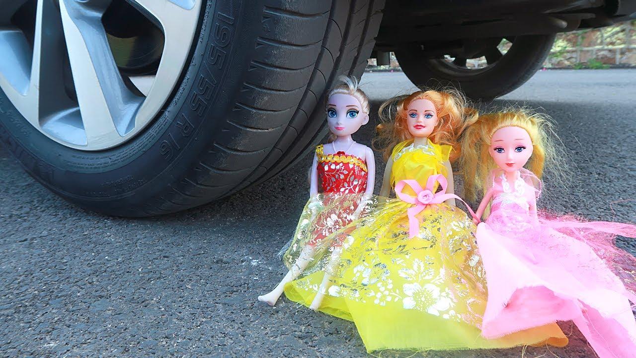 Crushing Crunchy & Soft Things by Car! - EXPERIMENT: Car vs Dolls