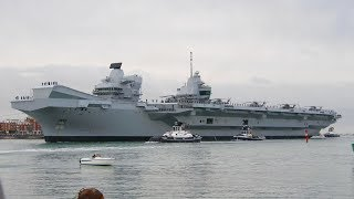 HMS Queen Elizabeth Arrives in Portsmouth for the First Time! FULL - 4K