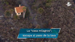 El volcán Cumbre Vieja ha estado en erupción desde el domingo, destruyendo centenares de casas, pero una logró evadir las corrientes de lava
