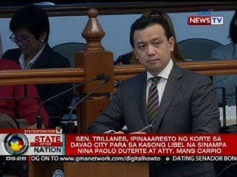 Sen. Trillanes, ipinaaaresto ng korte sa Davao City para sa kasong libel