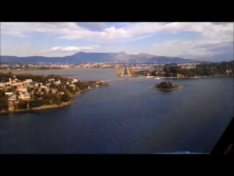 COCKPIT VIEW | B737 landing Corfu Kerkira LGKR/CFU RWY 35 with text commentary