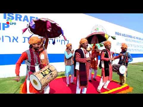 PM Netanyahu is welcomed to Ahmedabad