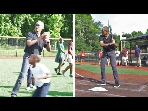 Obama Plays Football and Softball With Students at an After-School Program