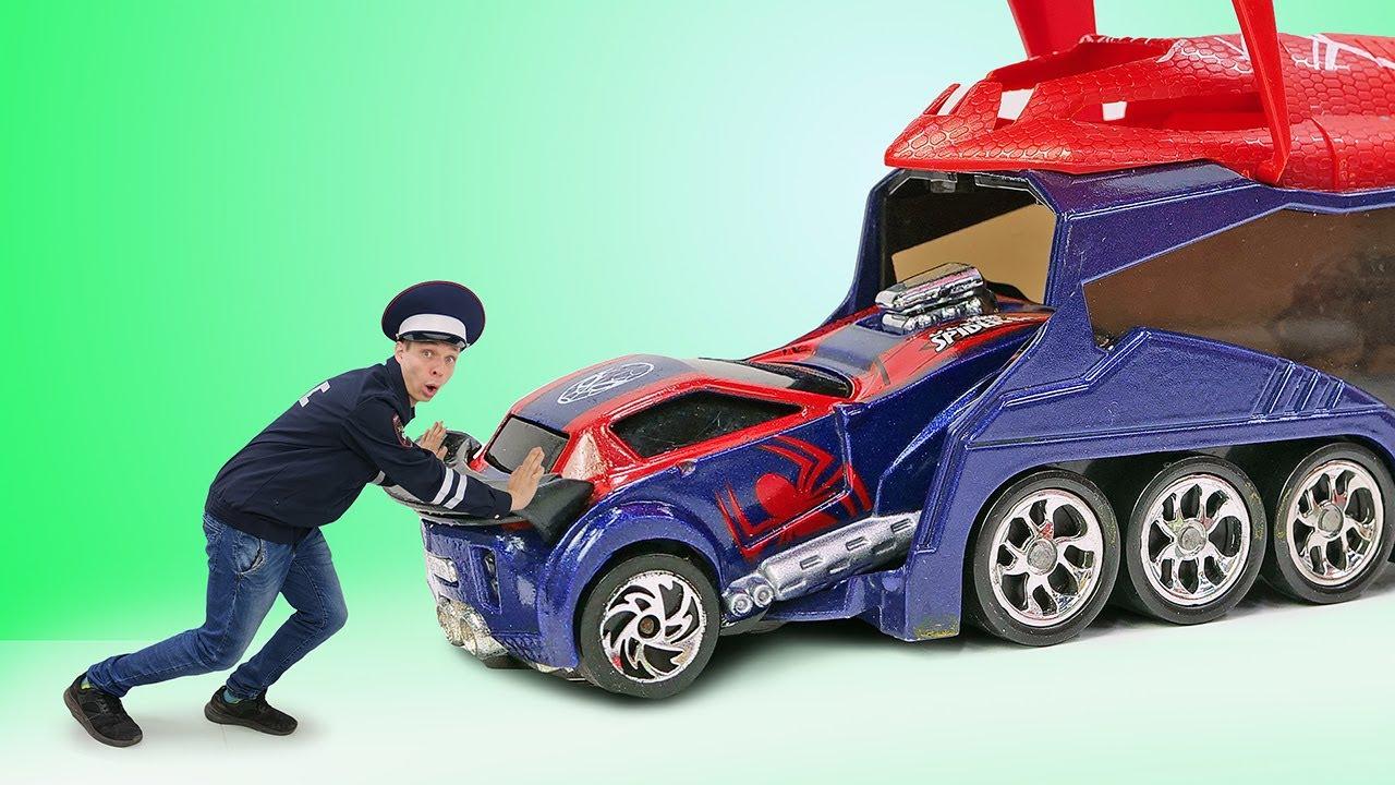 Инспектор Фёдор чинит Машинки Супергероев! Видео игры гонки для мальчиков. Герои Марвел в видео шоу