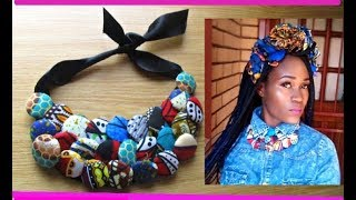 DIY-How to African print Cover button bib necklace