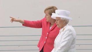 Die Queen in Berlin: Schloss Bellevue und eine Bootstour in Weiß-Rot