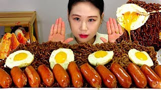 Download lagu 짜파게티 소세지 계란후라이 라면 Chapagetti Black bean noodles, Fried egg, Sausage 먹방 Mukbang Eating Sound