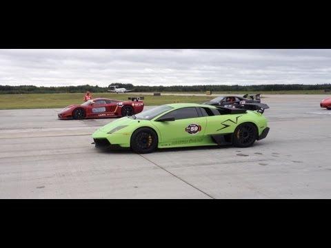 Lamborghini LP750-4 SV vs Saleen S7 TT Drag Race – Saleen Blows Up the Transmission! Race The Base