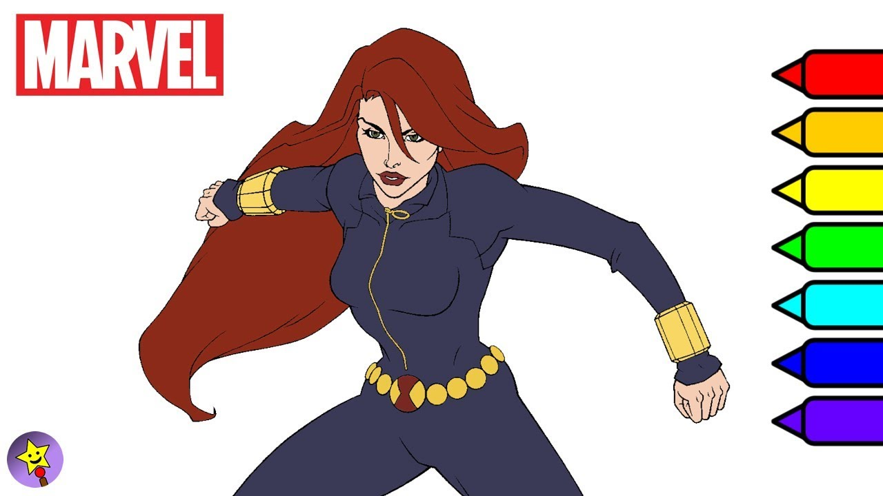 Marvel Avengers Coloring Book Black Widow Page